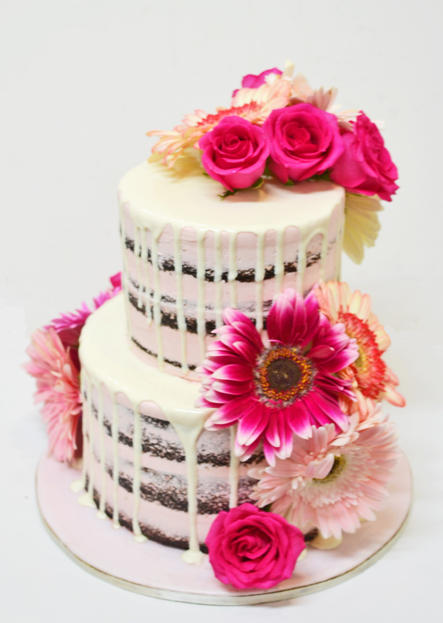 Photo 2 αν χωράει TIERED NAKED CAKE WITH GERBERAS AND ROSES